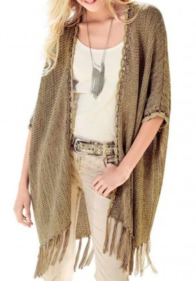 Knit poncho, taupe-golden