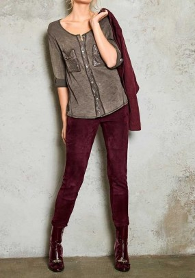 Goat velours leather leggings, bordeaux