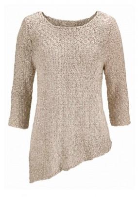 Asimetrinis rusvas megztinis