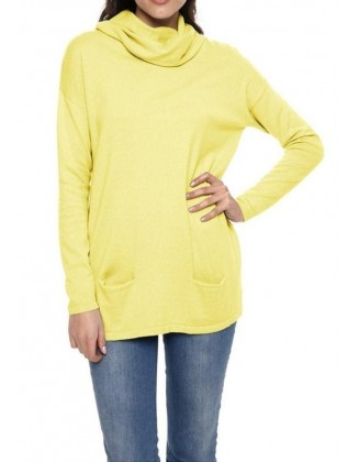 Geltonas megztinis su šilku