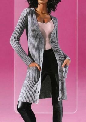 Ilgas pilkas megztinis su sagomis