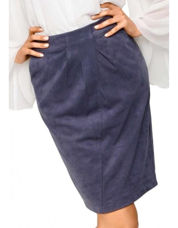 Mėlynas veliūro sijonas