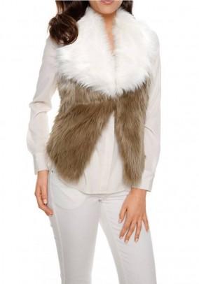 Weave fur vest, camel-offwhite
