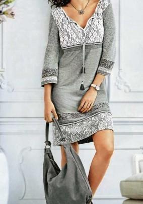 Pilka šilta suknelė su vilna