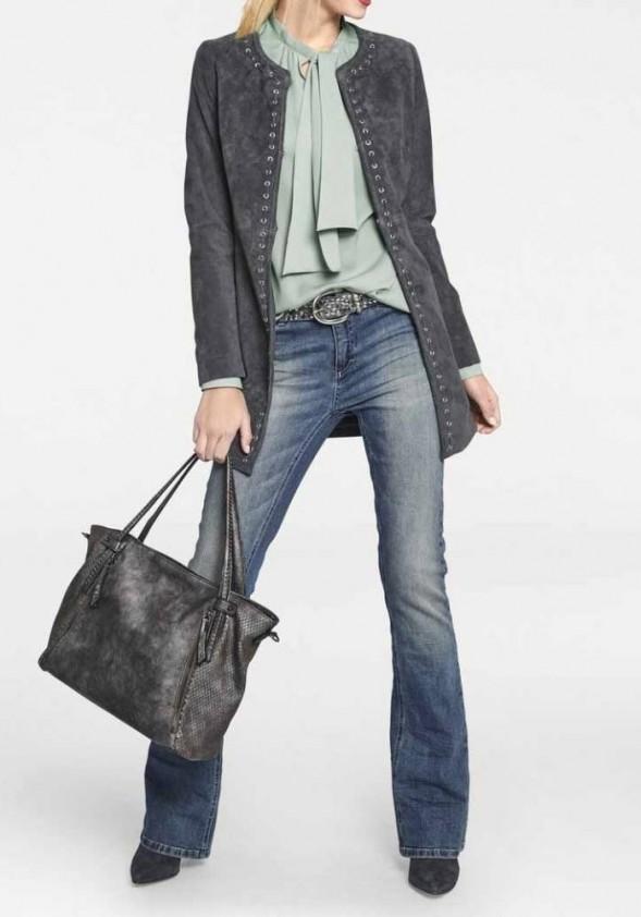 Leather coat, grey