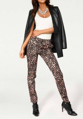 Print trousers, rose-black