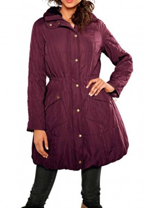 Quilted coat with weave fur, bordeaux
