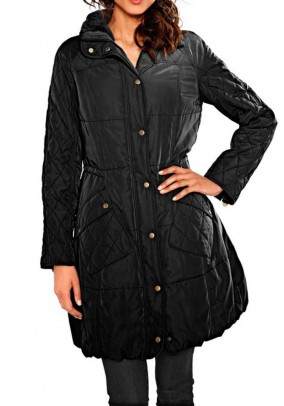 Quilt coat with weave fur, black