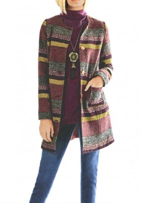 Jacuard wool coat, multicolour