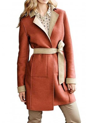Reversible felt wool coat, beige-orange