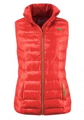 Down vest, orange-green