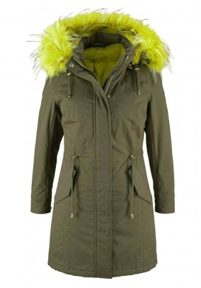Parka with felted fur, khaki-neon green