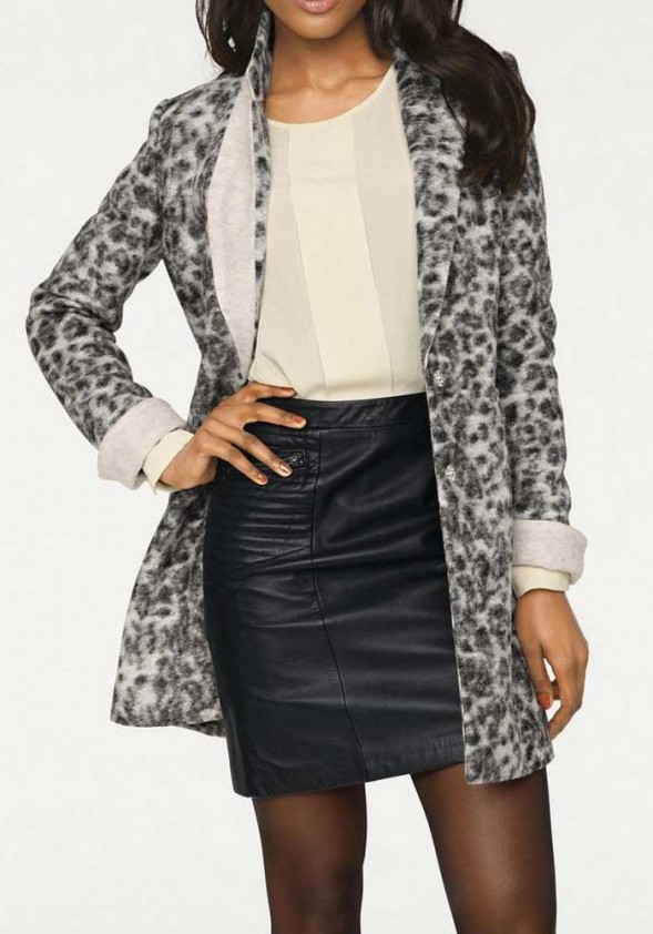 Designer wool coat, gray-black