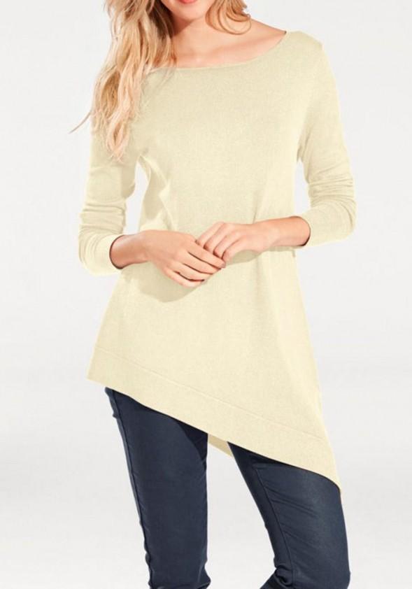Asimetrinis šviesus megztinis