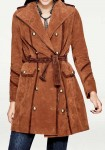 Designer suede leather coat, rust