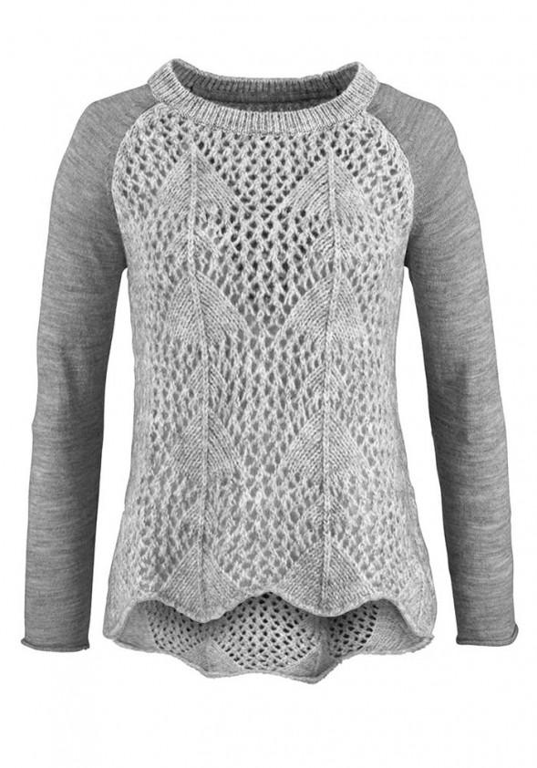 Pilkas megztinis su mohera ir vilna