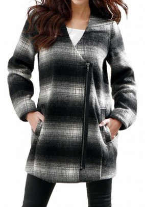 Wool coat, black-gray