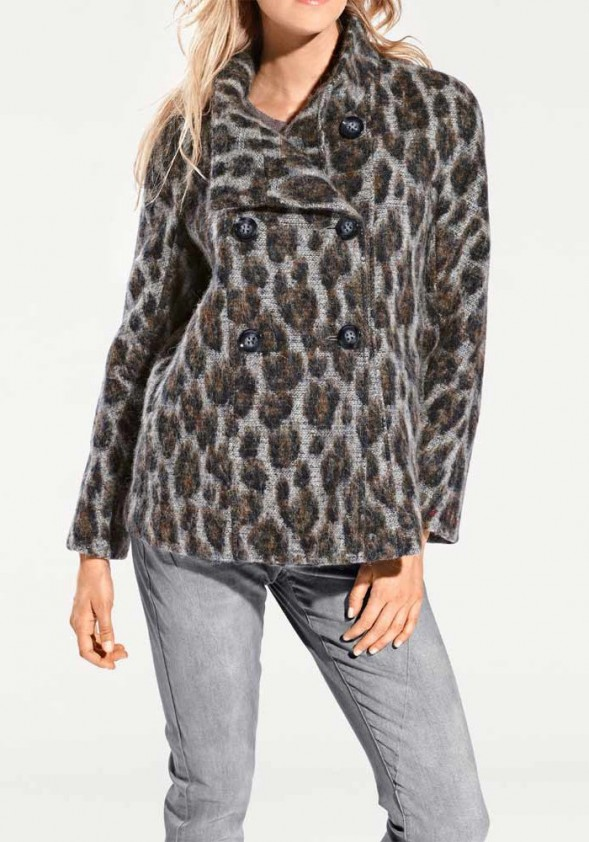 Leomuster wool cardigan, gray-colored