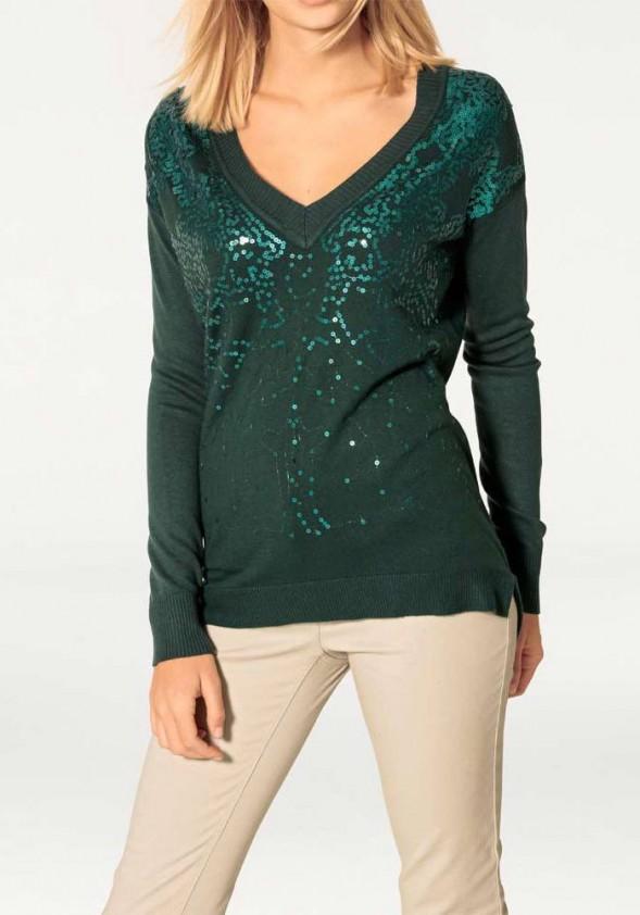 Žalias puošnus megztinis