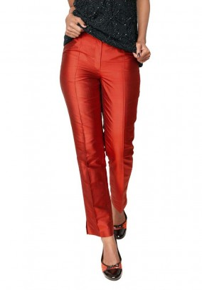 Silk trousers, red