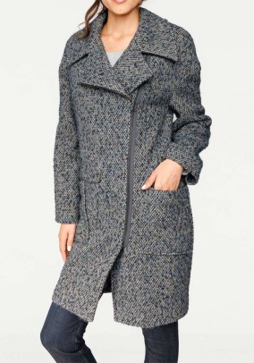 Tweed coat with zipper