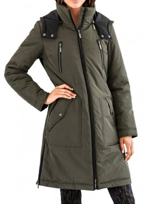 Coat, khaki-black