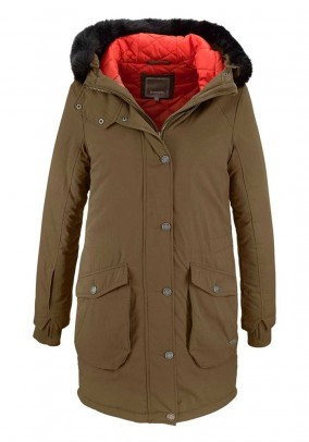 Parka with weave fur, khaki