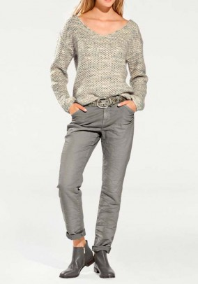 Boyfriend-cut trousers, grey
