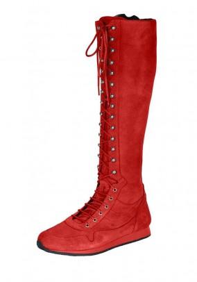 Sportiniai raudoni ilgaauliai batai