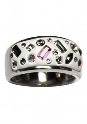 Baltas sidabro žiedas su Swarovski kristalais