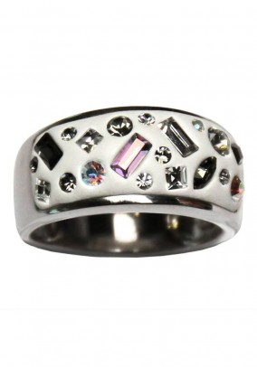 Silver ring with Swarovski, white