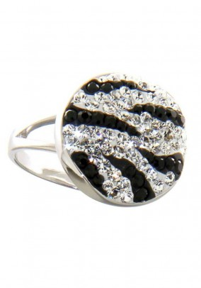 Silver ring with Swarovski, black/white