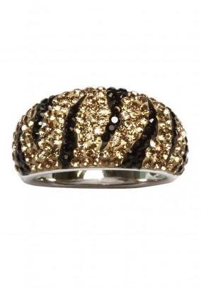 Silver ring with Swarovski, black-golden