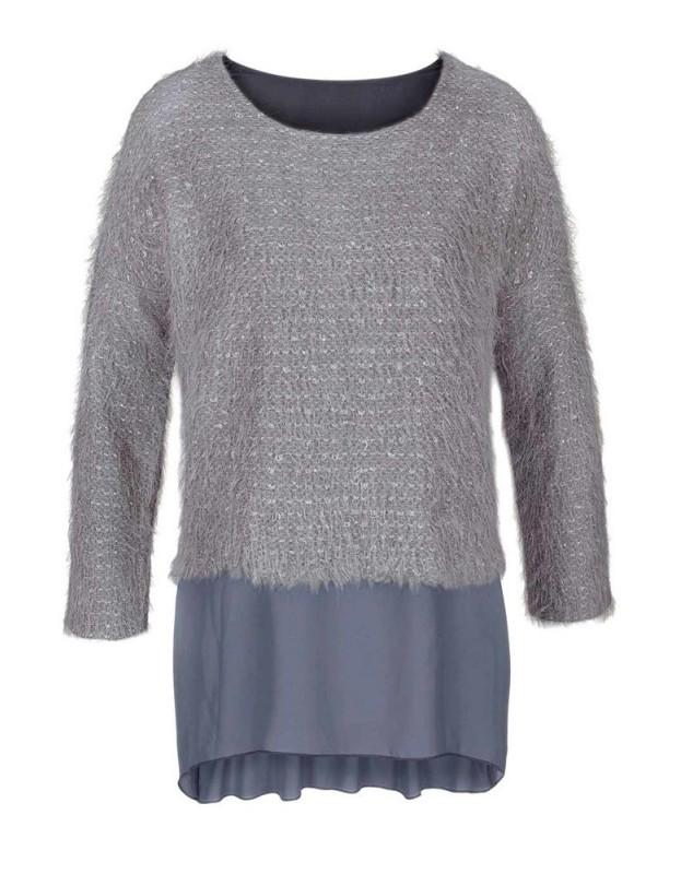 Pilkas stilingas megztinis
