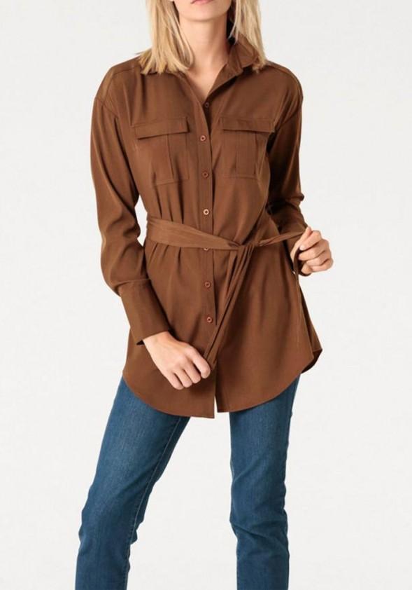 Long blouse with belt, cinnamon