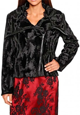 Weave fur jacket, black