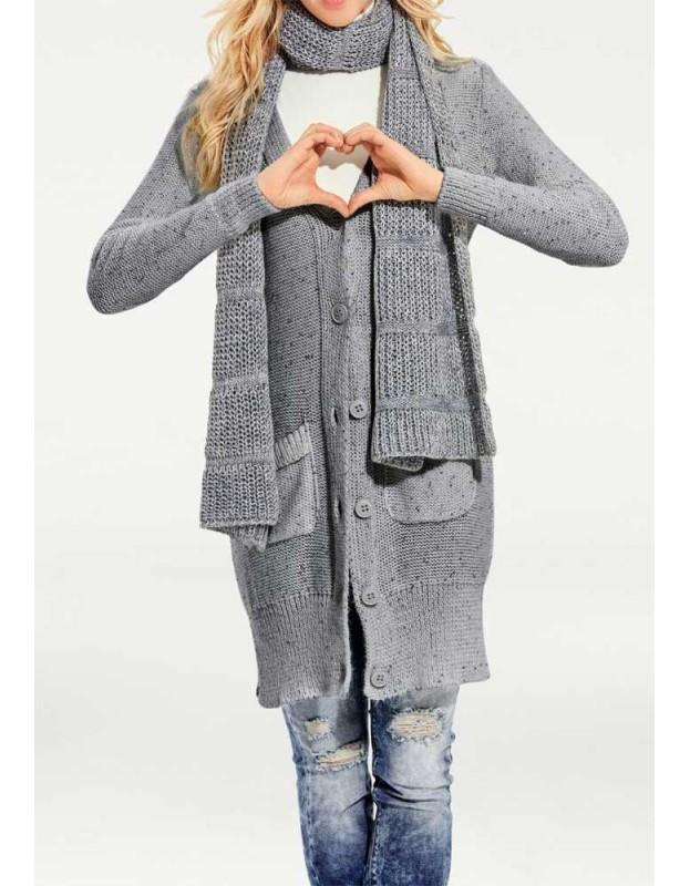 Ilgas pilkas megztinis