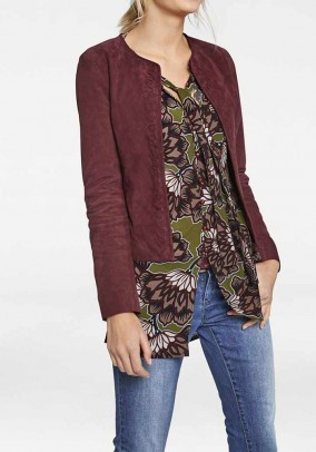 Velours leather jacket, berry
