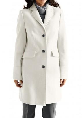 Baltas vilnonis paltas