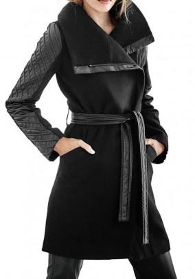 Originalus juodas paltas su vilna