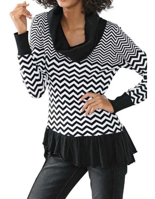Juodai baltas megztinis