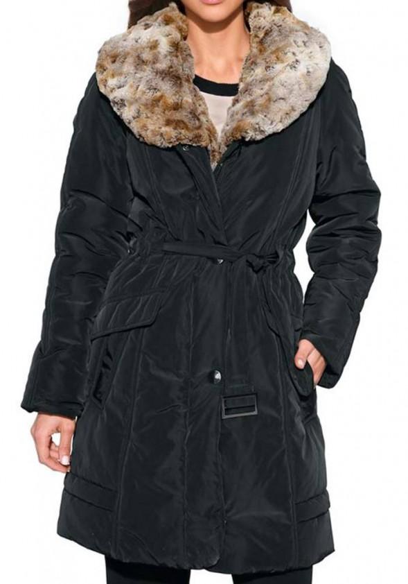 Coat with weave fur, black