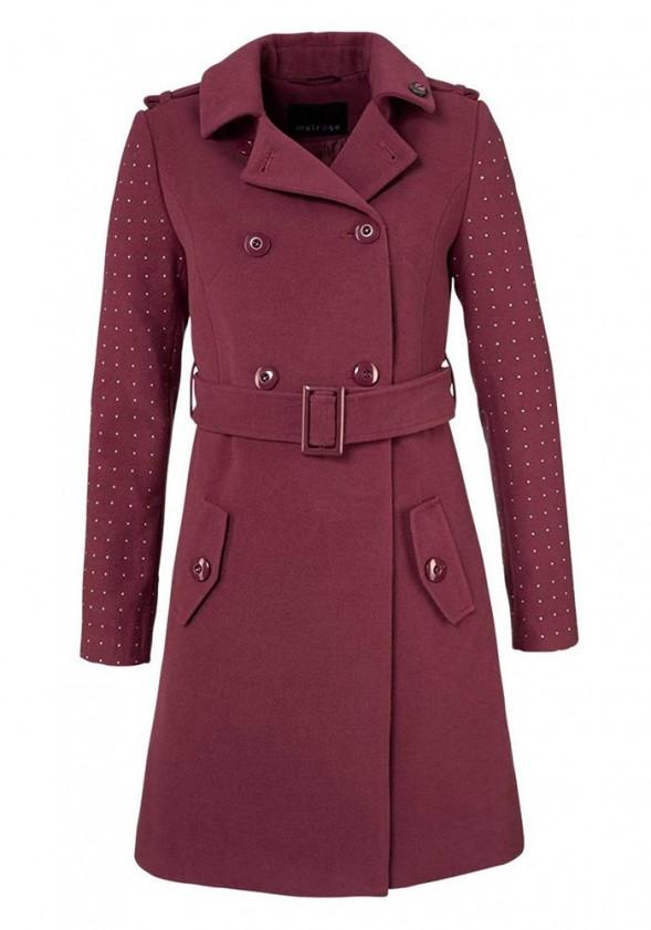 Bordo spalvos klasikinis paltas