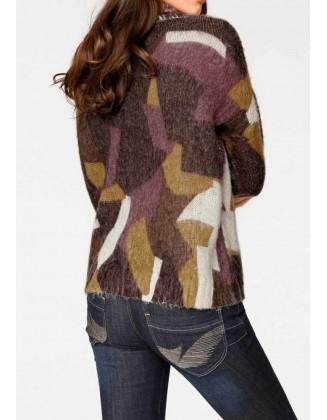 Violetinis megztinis aukšta apykakle