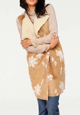 Imitation leather vest w. Teddy lining, beige