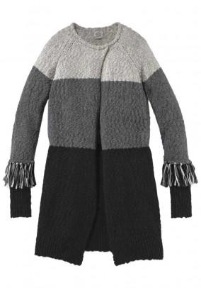 Brand Long Cardigan, gray-black