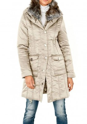 Coat with weave fur collar, sand