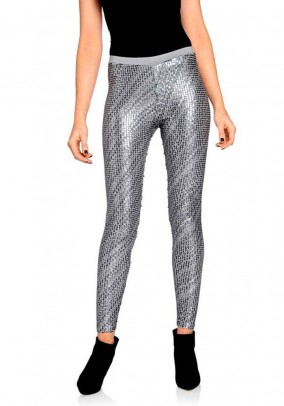 Sequin leggings, silver grey