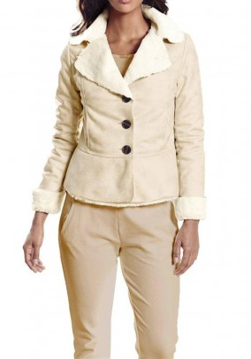 Lambskin-look jacket, sand-cream