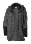 Cardigan with weave fur collar, grey